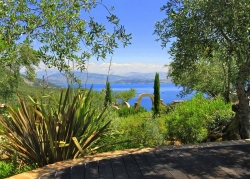 Views to Albania through the gardens in Corfu