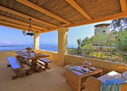 Dining on the terrace with sea views in Corfu