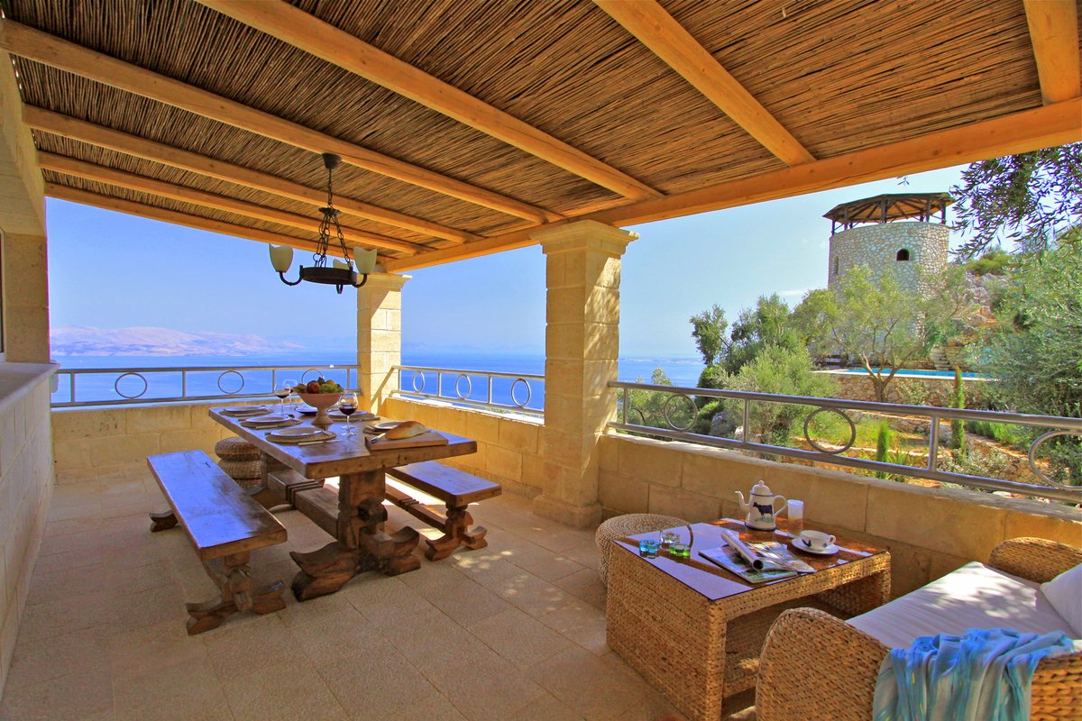 Dining terrace with views to the coast