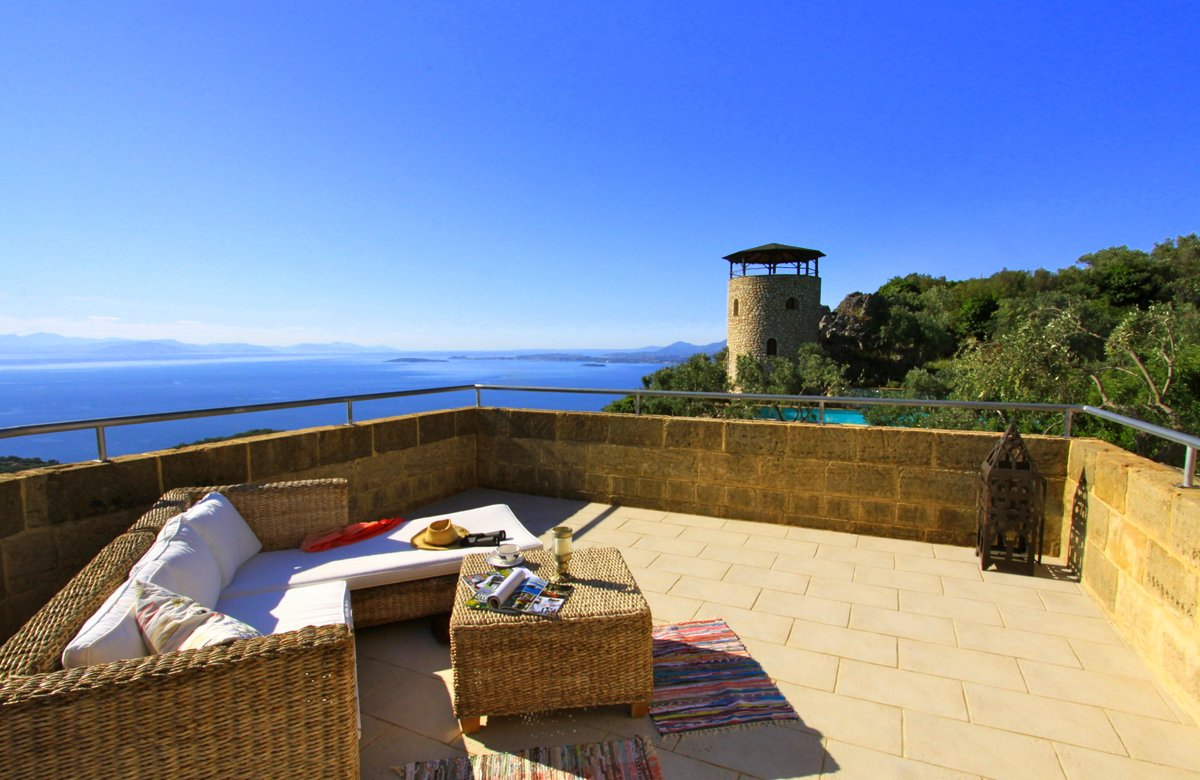 Private roof terrace with views over the Corfu coastline